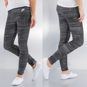 Nike Black and White striped leggings